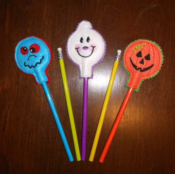 In The Hoop Halloween Pencil Topper Embroidery Design Set