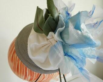 Wedding  Grey Straw Hat with White Silk, Blue Flower and Rhinestone