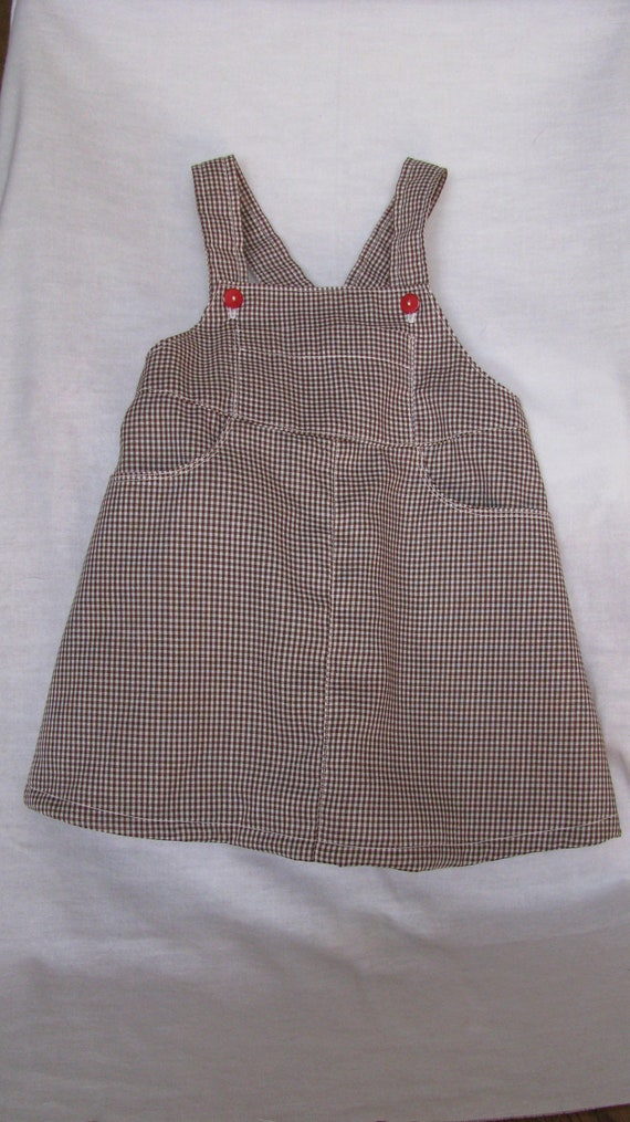 Brown & White Overall Dress in Size 2T