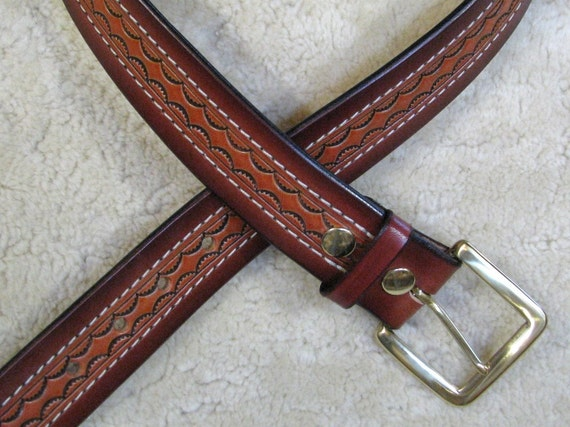 Hand-tooled Made - To - Order Heavy Leather Belt - B28595S - Nylon-Stitched - Snap-on buckle.  Ships Free inside the USA
