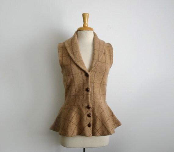 1980s Ralph Lauren peplum cardigan style sweater vest size medium