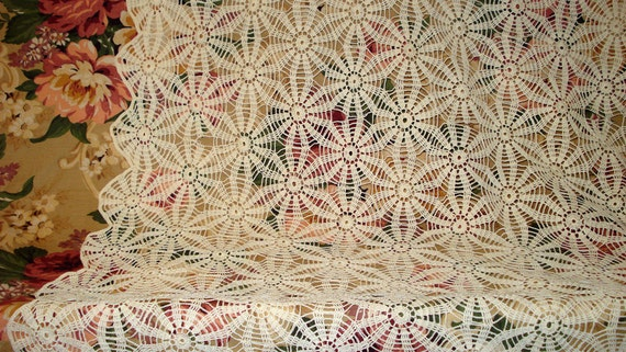 """Vintage Crochet Lace Table Cloth 32"""" by 52"""""""