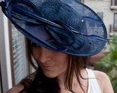 "Navy Blue Fascinator Hat - ""Wendy"" Wide Slightly brimmed mesh Fascinator Hat on a Headband"