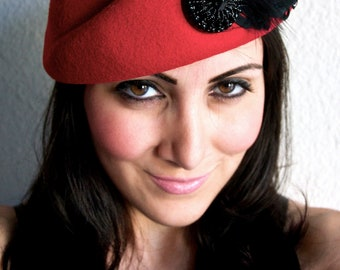 Red Wool Hat - Red Pillbox hat with black curly goose feathers and black beaded medallion