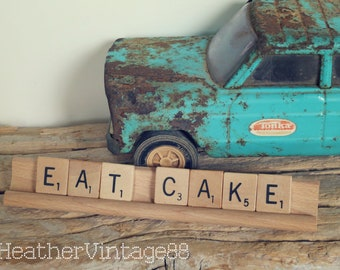 Vintage Wedding Eat Cake Scrabble Sign Cake Topper Guest Book Table Signage Gift for Bride Reception Party Decorations Baby Shower Decor