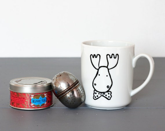 Deer with a bow tie mug - Housewarming gift for the kitchen - Moose handpainted mug - Coffee and tea cup