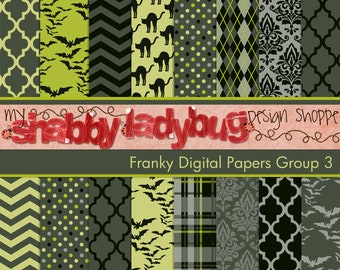 "Franky  Halloween Digital Paper Collection Group 3: 16 Individual 12x12"" 300 dpi digital scrapbook backgrounds"