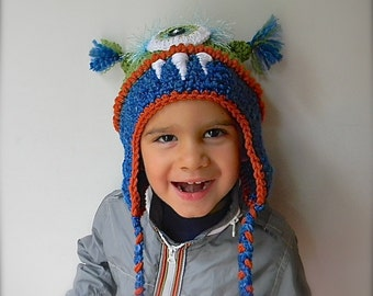 green and blue Monster hat -costume