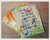 Blank Greeting Cards - Set of 6 - Typography Collage Art with Bible Verses