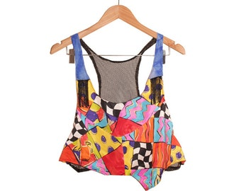 90s Club Kid Print Silk Office Top Upcycled into Black Mesh Back Camisole OOAK