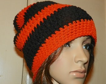 Black and Orange Hat  Slouch Hat Hand Crochet Perfect for Halloween