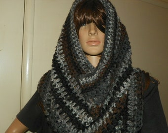 Oversize Cowl  Black Ashes  Cowl Neck Warmer Hood Hand Crochet  Very Stunning