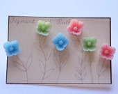 Earring Set Flowers Floral Three Pink Blue Green Pastel Bridesmaids Gift Set Rose Dainty Delicate - FigmentandRather
