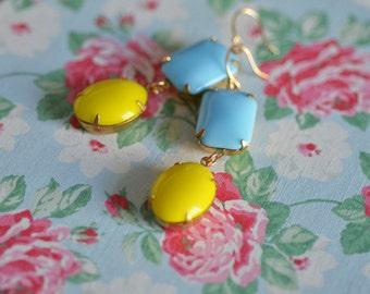 Earrings Blue Yellow Sunshine Lemon Yellow Summer Dangle Fun Bright Sky Blue Baby Blue Bridesmaid Bright Cheerful Large Bold Statement