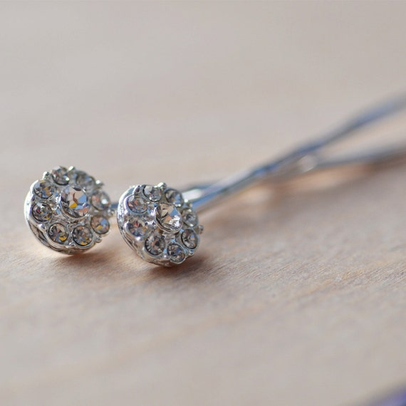 Bobby Pins Set of Two Silver Plated Crystal Sparkle Grad Graduation Formal Delicate Dainty Bride Wedding Bridemaid Flower