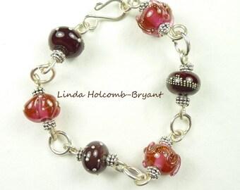 Silver Bracelet of Rose Lampwork Beads