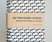 All Year Round Timeless Journal / Planner (Self-filled dates, fabric wrapped) - Penguins in Black and White