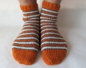 Orange, gray &  cream striped wool longhorn socks