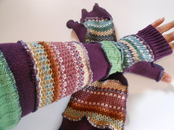 Long Recycled Sweater Sleeves Purple Green Fairy Gloves by SewWonderifical