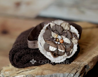 Brown Baby Photo Props, Brown Baby Wrap Set, Brown Newborn Wrap Set, Baby Girl Photography Props, Newborn Photo Props, Brown Baby Wrap