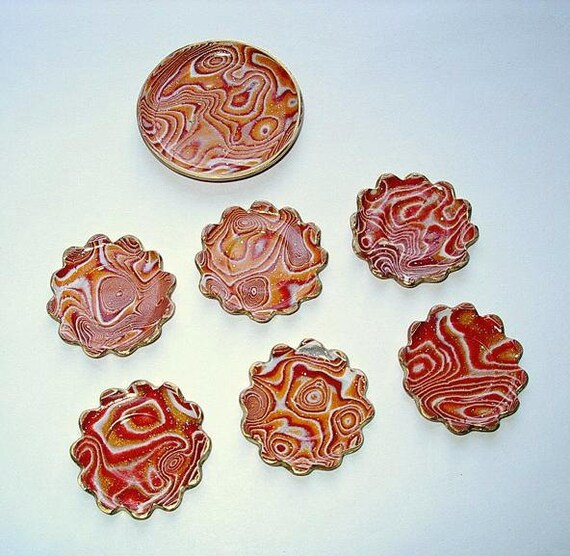 Dishes & Platter, Copper SIlver Gold, Dollhouse Miniatures 1/12 Scale, Mokume' Gane Clay