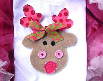 Reindeer Christmas Shirt-Reindeer tshirt- personalized reindeer tee shirt