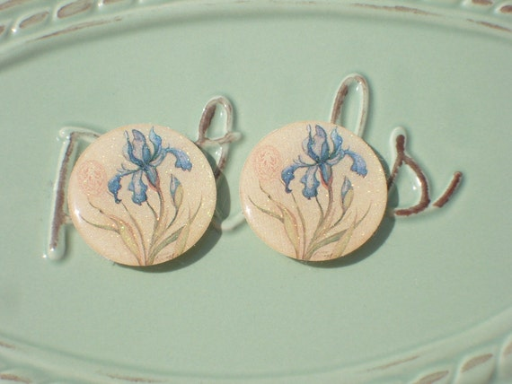 Blue Iris Flower Earrings