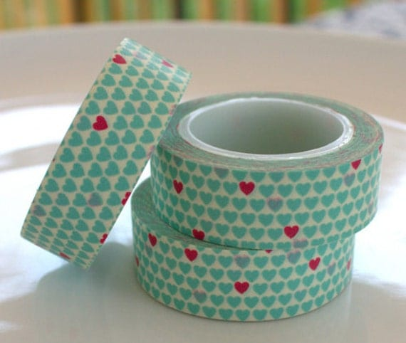 Love Overload Aqua with Pink Hearts Washi Tape