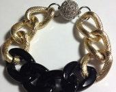 Diamond Ebony Chunky Gold Bracelet