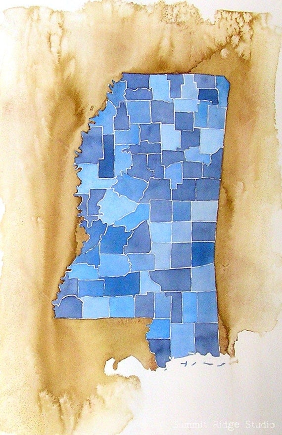 Mississippi Counties Original Watercolor Painting Large