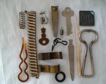 Stainless Steel, MOP Opener, Rubber, Plastic, Keys, Nail Clippers, Bottle Opener, Bakelite Hairpin, Findings