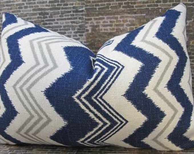 SALE Designer Pillow Cover - Ikat Zig Zag - 12 x 18 Navy