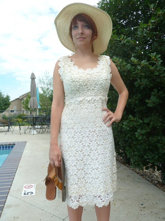 This is a Daisy You Must Pick - Rare 1960's Victor Costa Romantica Sleeveless Dress.