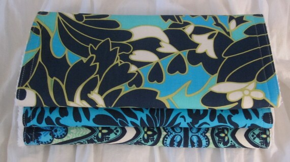 Set of (3) Burp Cloths-Amy Butler: Indigo & Aqua-SALE 30% OFF