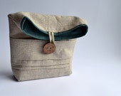 Folded flat clutch fabric pockets natural teal striped linen cotton handmade ready to ship