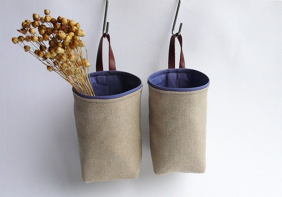 Hanging fabric basket natural oatmeal tan ecru mauve lavender handmade set of two
