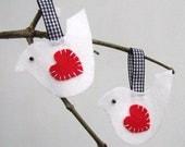 white Valentine lovebird decorations, set of two