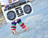 Rainbow Leg Warmers 80's Style Crochet Leg Warmers - CrochetbyYJ