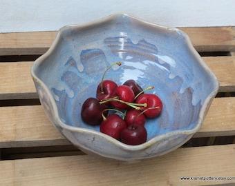 Ceramic Serving Bowl // Handmade Pottery Bowl // Dusk Blue