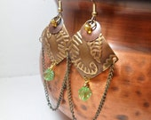 Metal Earrings Arabian Inspired Brass Diamond Shape with Chain, Green and Amber Glass Beads