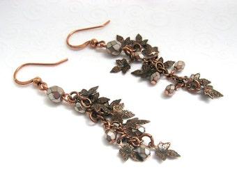 Copper Leaf Earrings, Leaf Dangle Earrings in Antique Copper with Czech Beads, Maple Leaf Earrings, Fall Fashion