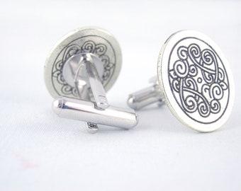 Celtic Knot Oval Silver Cufflinks - Celtic Cufflinks Silver Cufflinks Celtic Wedding Groomsmen Gift