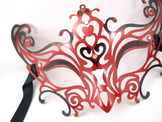 Red Devil - Filigree Venetian Mask - Ready to Ship