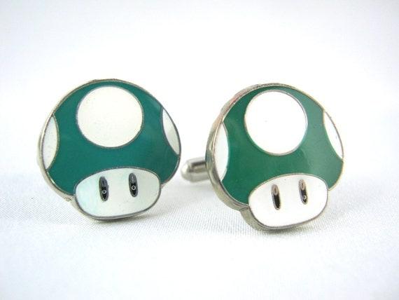 1UP Green Mushroom Cuff Links