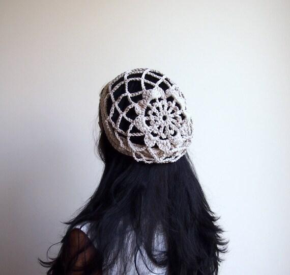 Beige ivory lacy  hat beanie crochet slouchy mesh lace fashion bridal headpiece