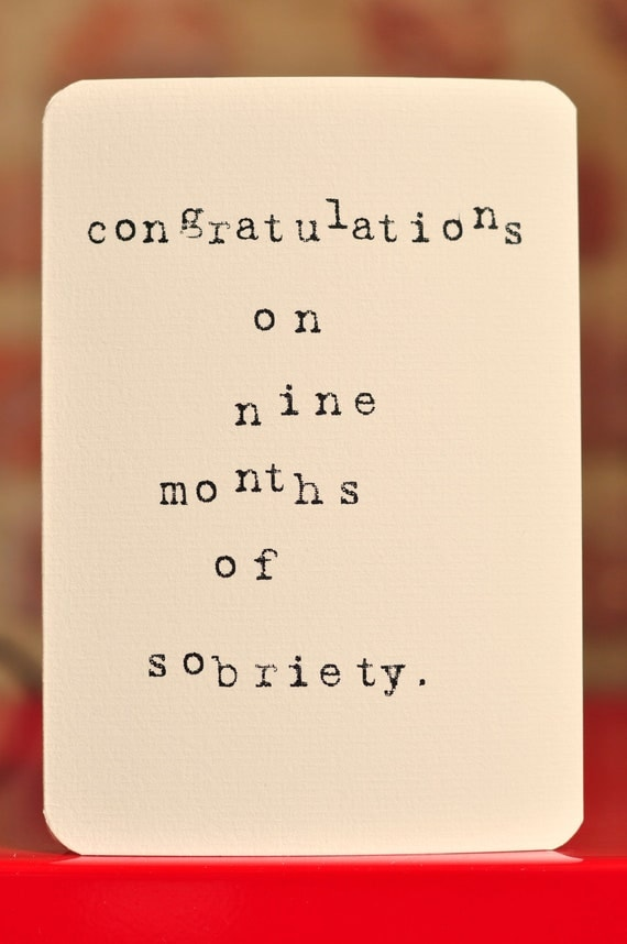 Mardy Mabel Pregnancy Congratulations Card: congratulations on nine months of sobriety.