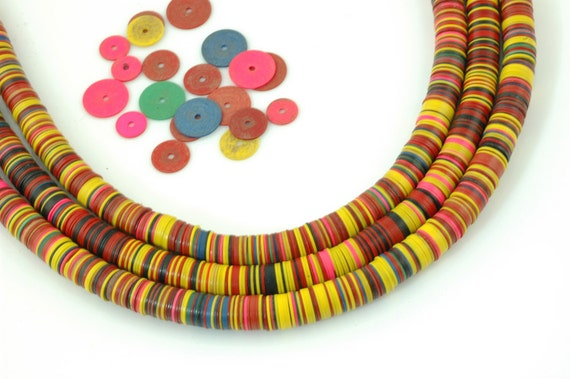Vintage African Vinyl (Vulcanite) Record Beads Primary Mix- 8x.5mm.