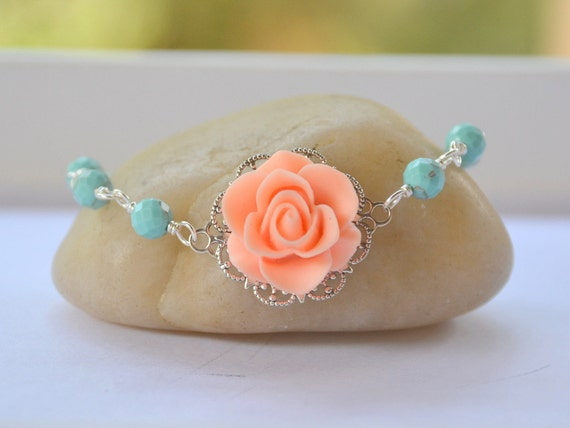 Peach Rose and Turquoise Beaded Bracelet Jewelry Gift for Her.  Free Shipping.