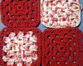 40 five and one half  inch granny squares PLUS one skein of CHERRY YARN