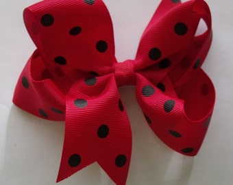 Hair Bow- Red and Black Polka Dot Hair Bow
